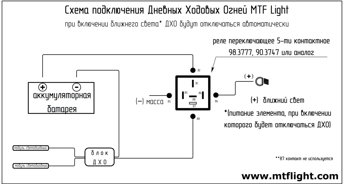Установка дхо схема подключения