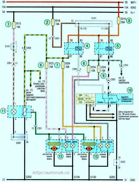 Схема фары с корректором