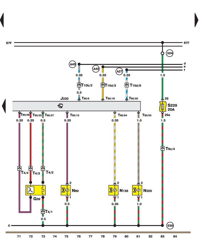 Датчик кислорода, клапан поворота распределительного вала (Motronic) Volkswagen Passat B5.