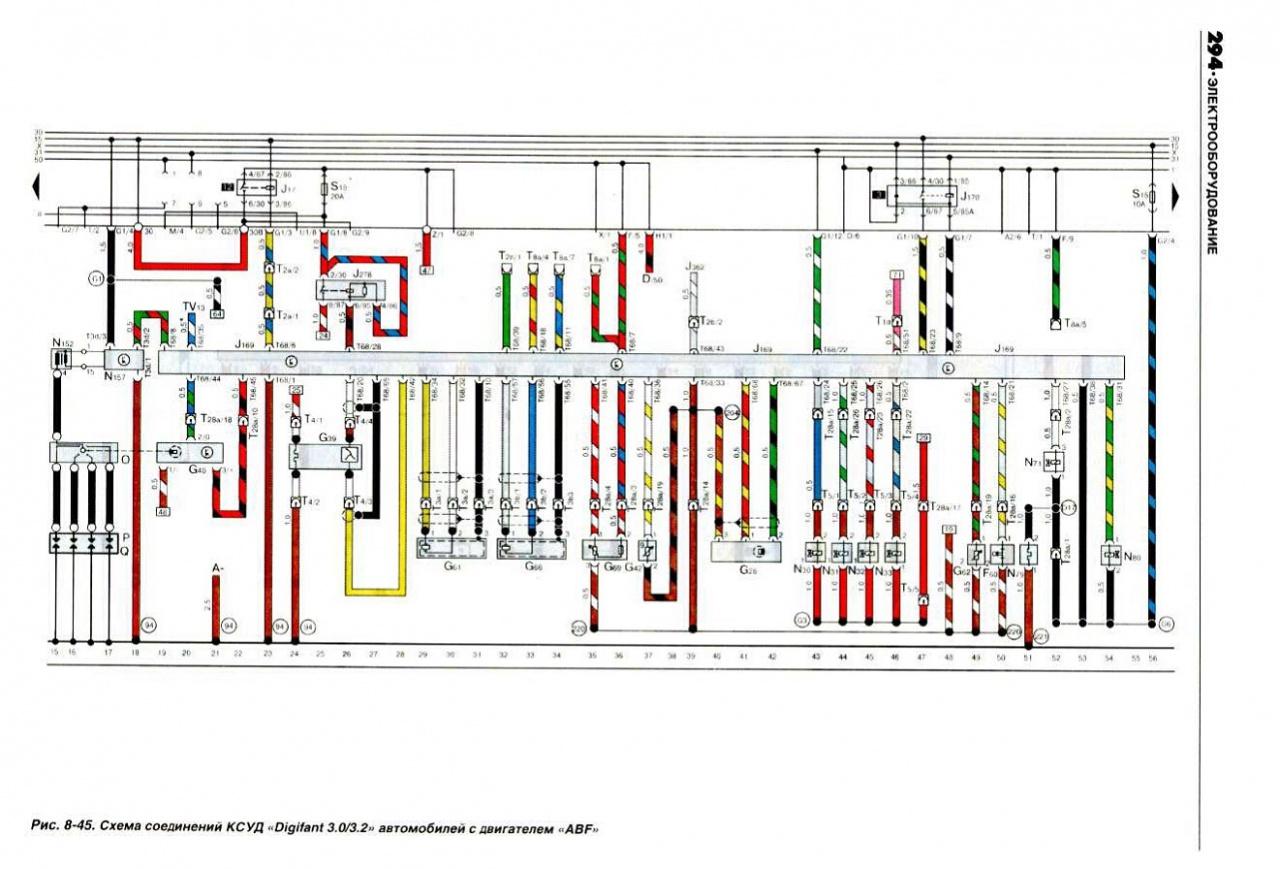 Passat B3/В4 Схема соединений КСУД Digifant 3.0/3.2 с двигателем ABF (Volkswagen Passat B3) — Volkswagen Passat...