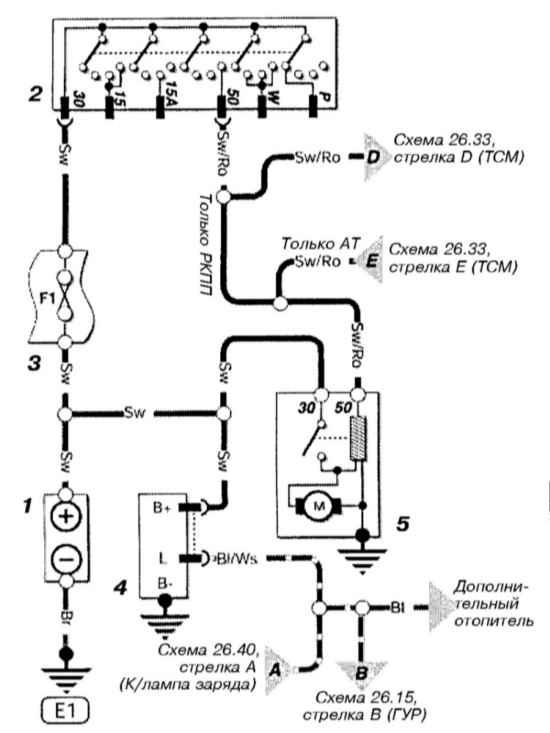 Astra G Принципиальная схема Системы запуска и заряда (дизель) (Opel Astra G) — Opel Astra, клуб Опель Астра.