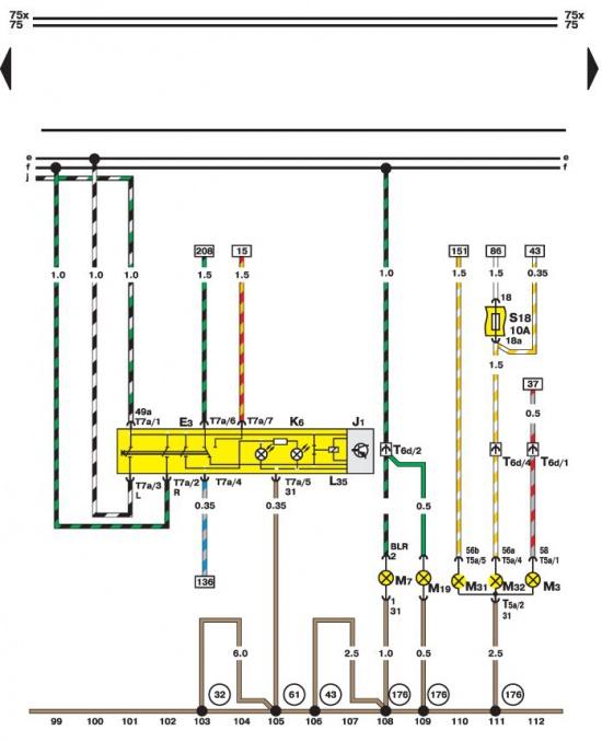 Выключатель световой сигнализации и ламп (правая сторона) Volkswagen Passat B5.