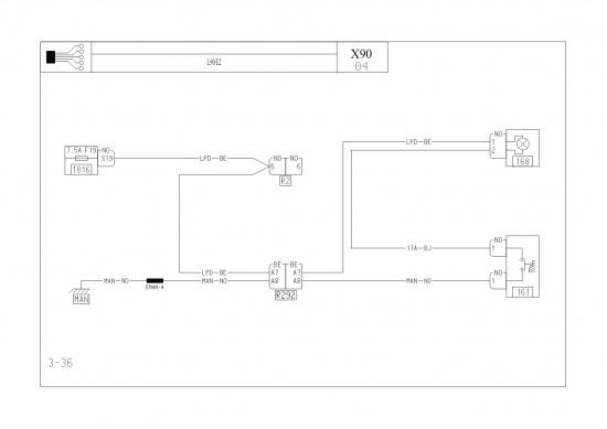 Принципиальная схема.  Блок предохранителей в салоне.  Лампа освещения отдел для мелких предметов L90-E2.