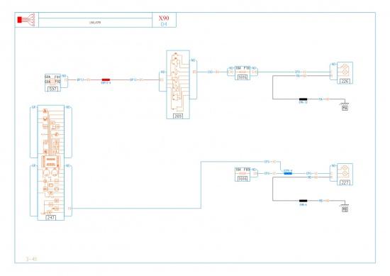 Принципиальная схема Правая фара Ближний свет L90-LAVPH