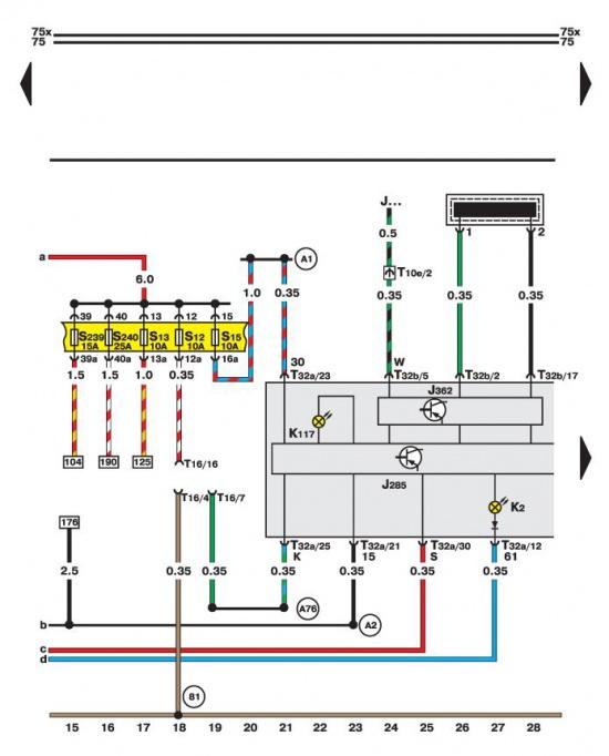 """""""13.35.6. Диагностический разъем, лампы генератора и комбинации приборов.  Начало."""