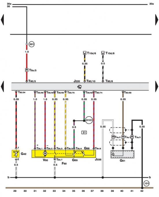 Дроссель, датчики детонации, температуры воздуха (двигатель Motronic) Volkswagen Passat B5.