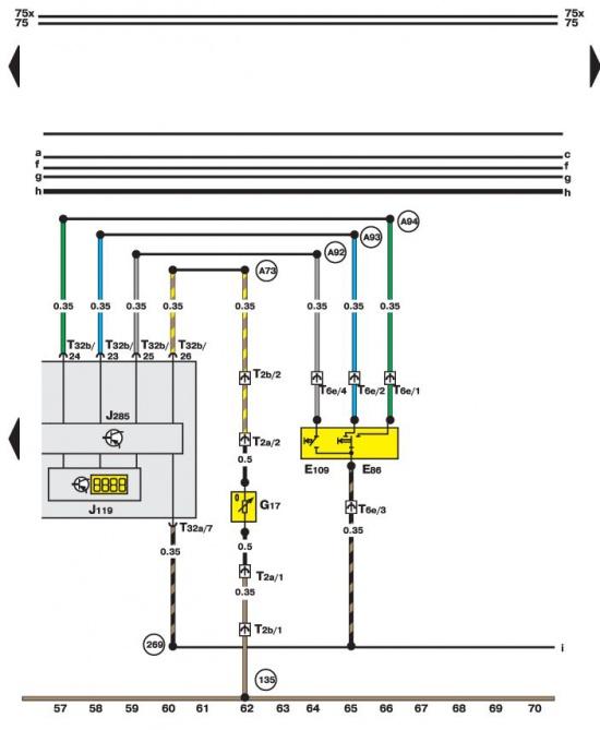 14.35.9 Комбинация приборов, индикатор, датчик температуры воздуха.
