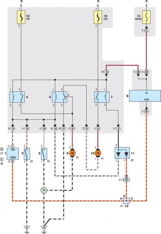 Cхема электрическая принципиальная ВЕНТИЛЯТОРА РАДИАТОРА СИСТЕМЫ ОХЛАЖДЕНИЯ МОДЕЛЕЙ с 2001 года выпуска.