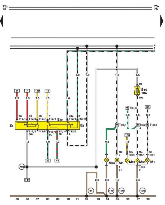 Схема выключателя световой сигнализации и лампы (правая сторона) .