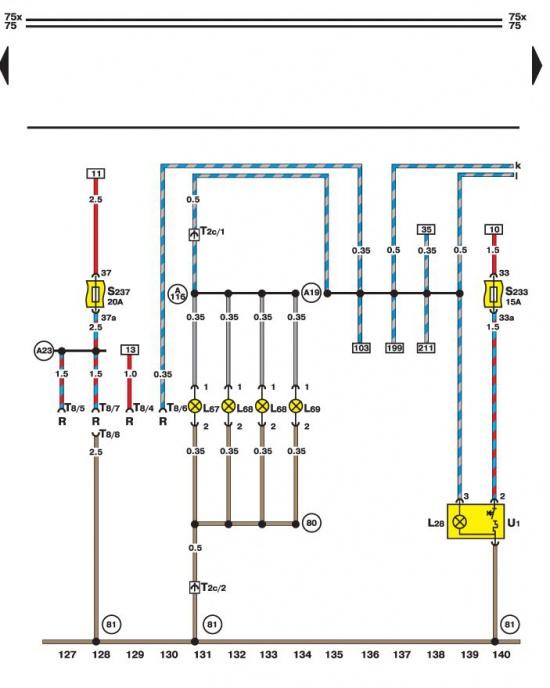 Разъем радиоприемника, прикуриватель и подсветка приборов Volkswagen Passat B5.