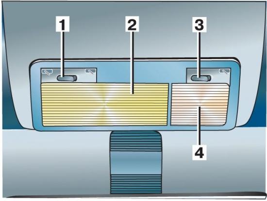 1 - выключатель плафона освещения; 2 - плафон освещения салона; 3 - выключатель плафона для чтения; 4...
