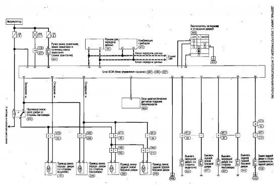 Схема системы управления дверными замками с электроприводом с интеллектуальным ключом Nissan Qashqai.