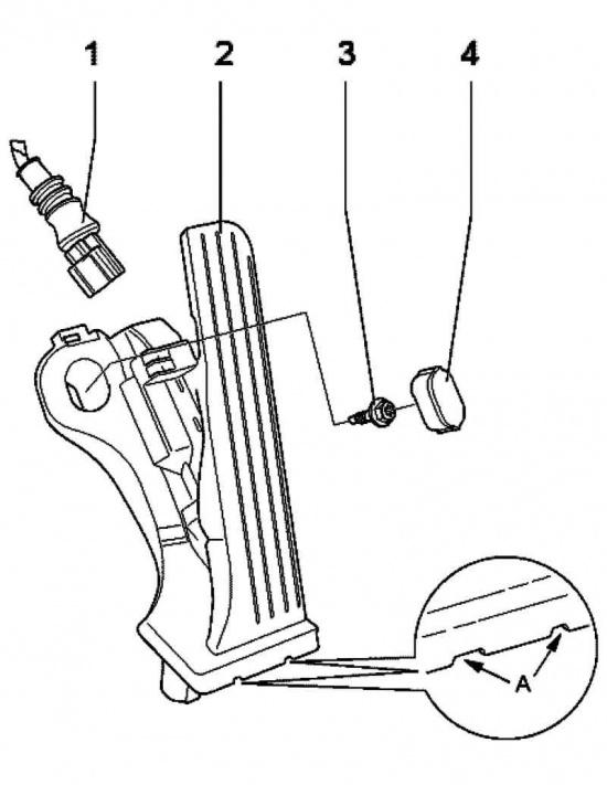 Монтажная схема педали акселератора.