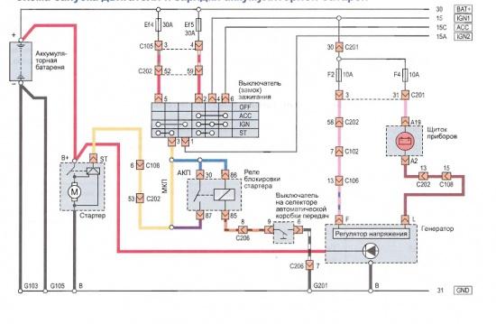 Принципиальная схема запуска двигателя и зарядки аккумулятора.