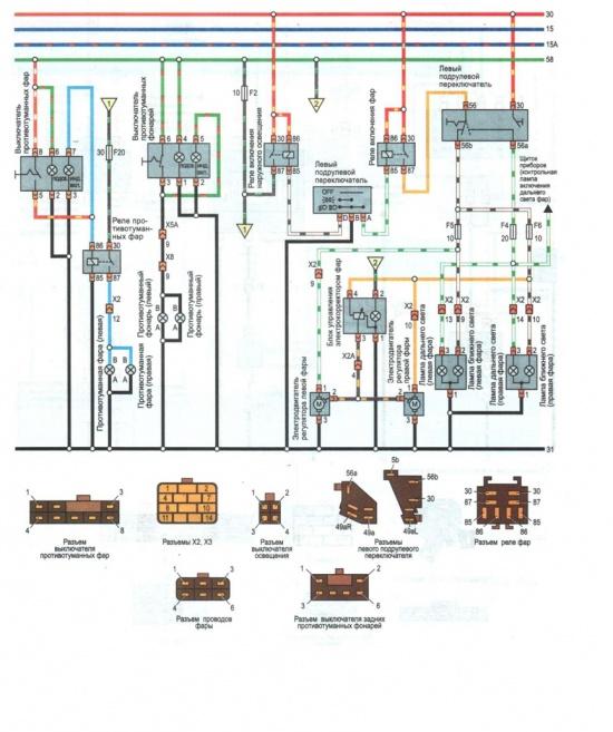Цветные схемы электрооборудования Daewoo Nexia (с 1994 г., c 2003г., рестайлинг 2008 г.