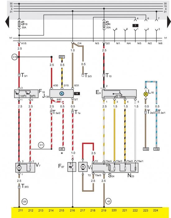 Кинул провод с нижнего контакта предохранителя 9 на переднюю пластину регулятора скоростей и движок заработал.