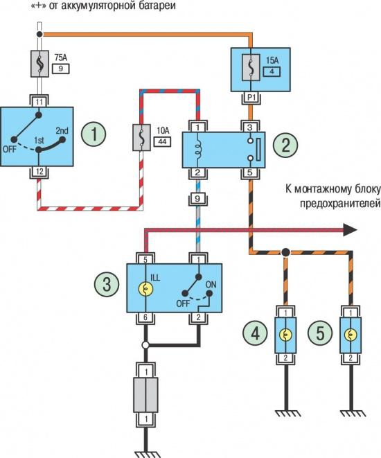 ...которое и подсоединяем согласно схеме, при правильном подключении подсветка Схема подключения противотуманных фар к.