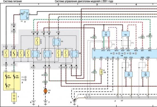 RAV4 (I-поколение) Принципиальная схема.  Система управления двигателем моделей с 2001 года.