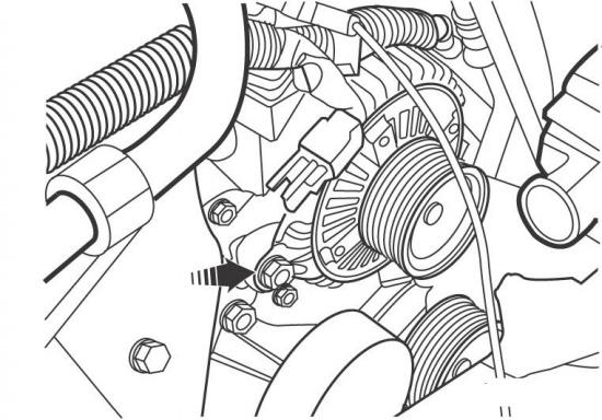 Расположение болтов крепления генератора на моделях с 2001 года.