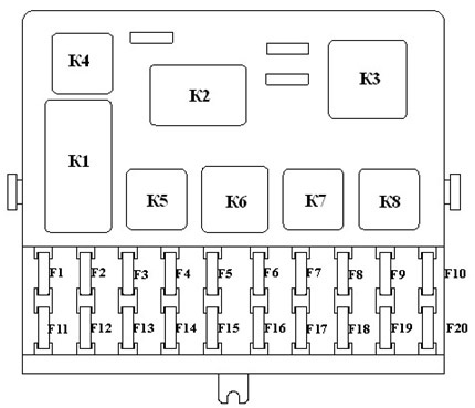 Основные предохранители и реле на автомобиле ваз 2110 21102 21103 схема внутренних соединений монтажного блока...