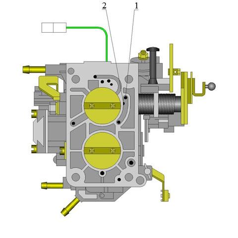 """Карбюратор  """"Солекс """" (вид снизу).  1 - штуцер системы вентиляции картера;2 - выемка у входного отверстия системы..."""
