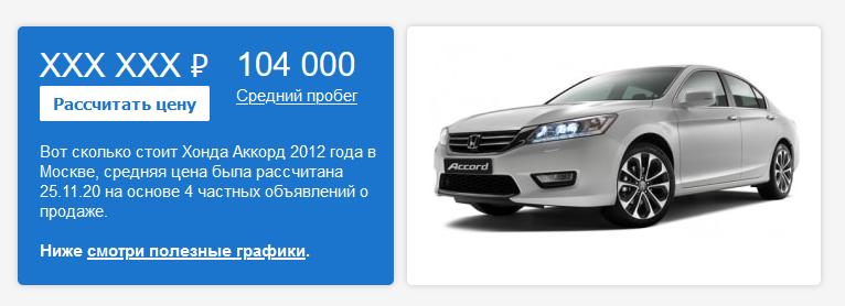 Сколько стоила Honda Accord в 2012 году?
