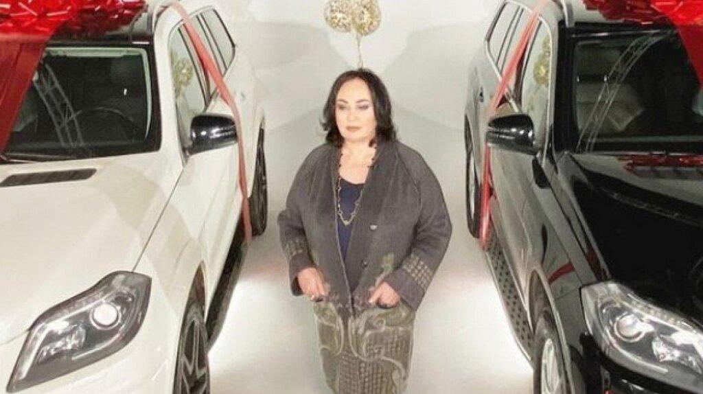 Лариса Гузеева рядом с автомобилями