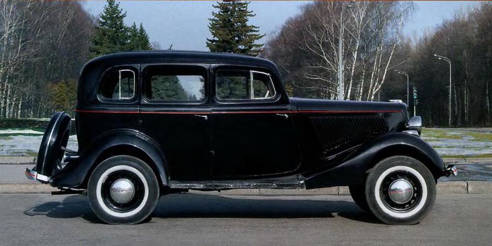 Самый распространенный вариант оформления «эмки» ГАЗ М-1 – черный цвет с красной тонкой полоской