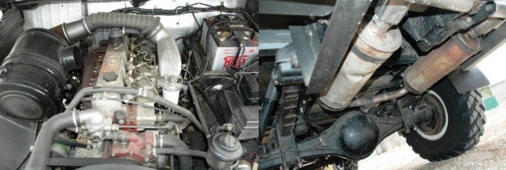 Воздушный фильтр – из КамАЗа, переходник глушителя сделан из снарядной гильзы
