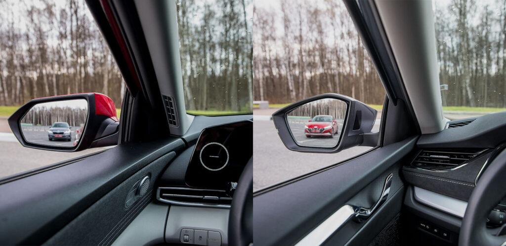 Лучшую обзорность в корейском седане обеспечивают крупные зеркала и узкие передние стойки
