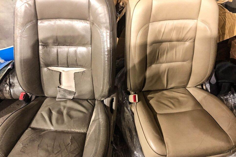 Недостатки салона демонстрирует снимок с креслом в исходном состоянии и после ремонта