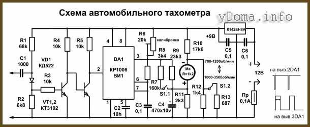 Представленная схема тахометра