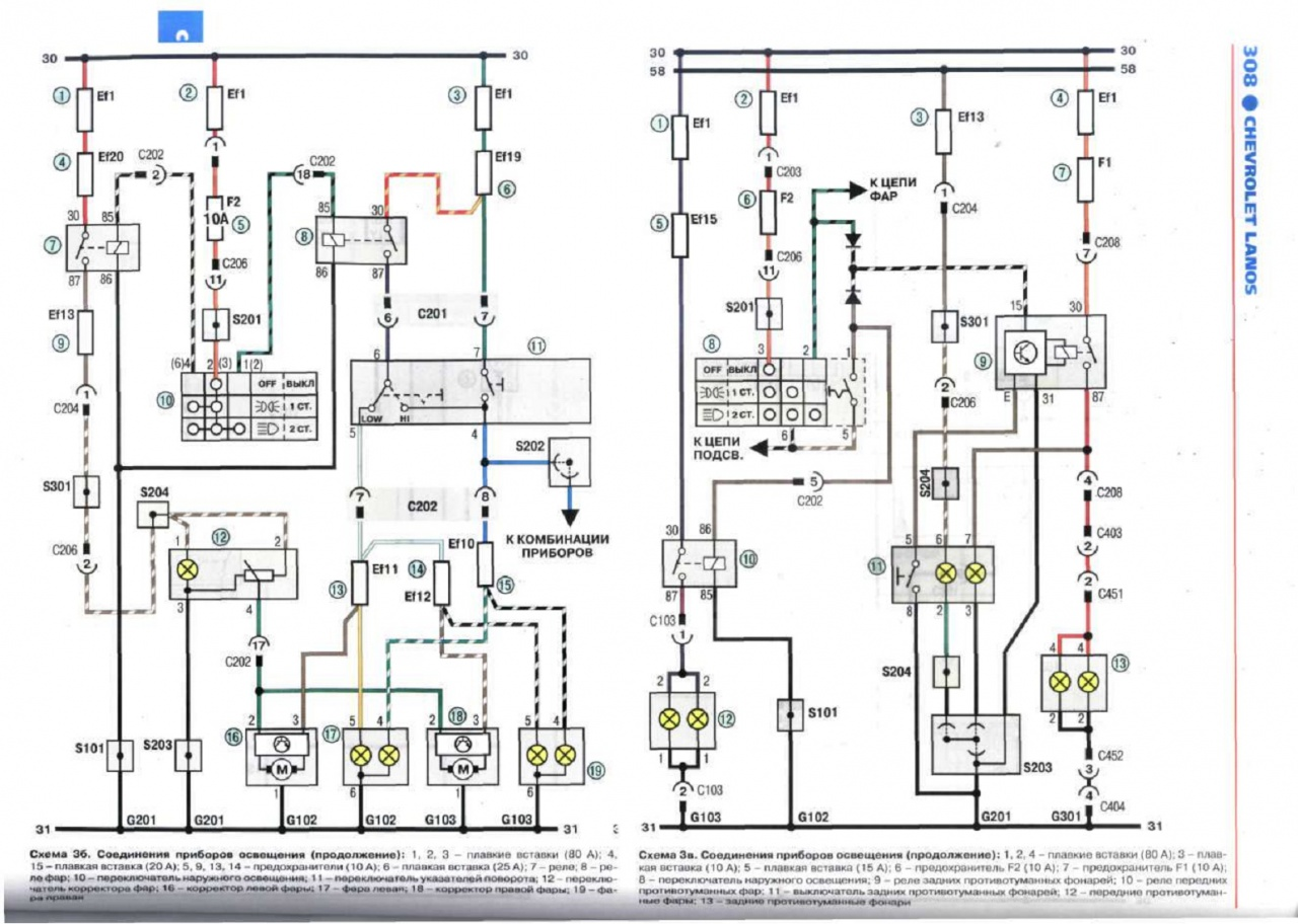 Схема проводки дэу сенс