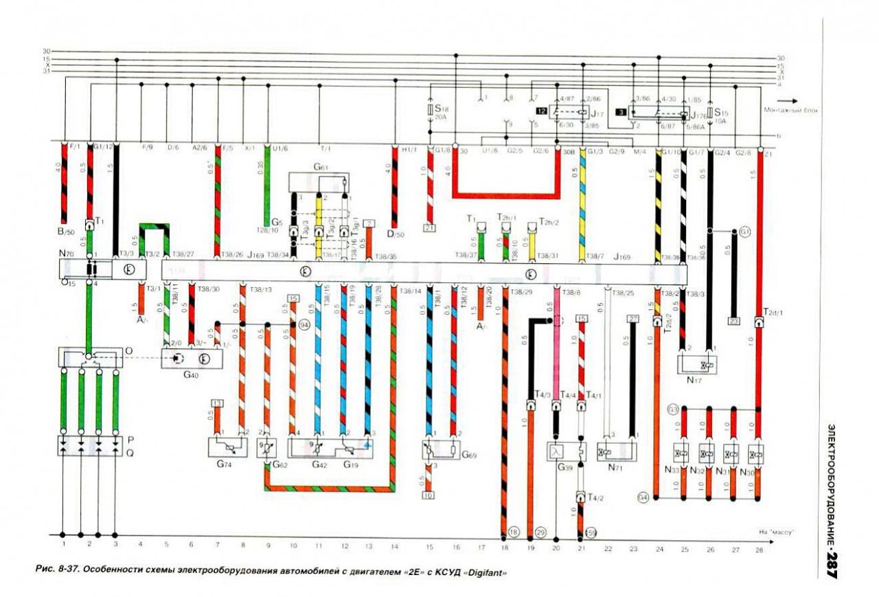 Схема электрооборудования пассат б3 382