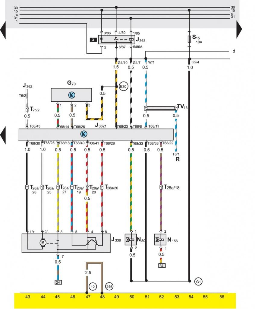 схема электрооборудования пассат б4