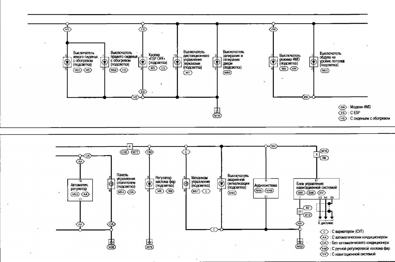 Схема подключения фар на кашкай