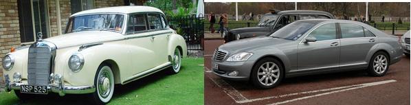 Слева - Mercedes 300 W186 (1951-1957), справа - нынешний S-класс V221 (2005-).