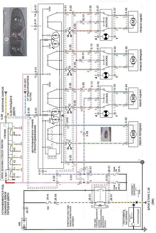 Электросхема стеклоподъемников