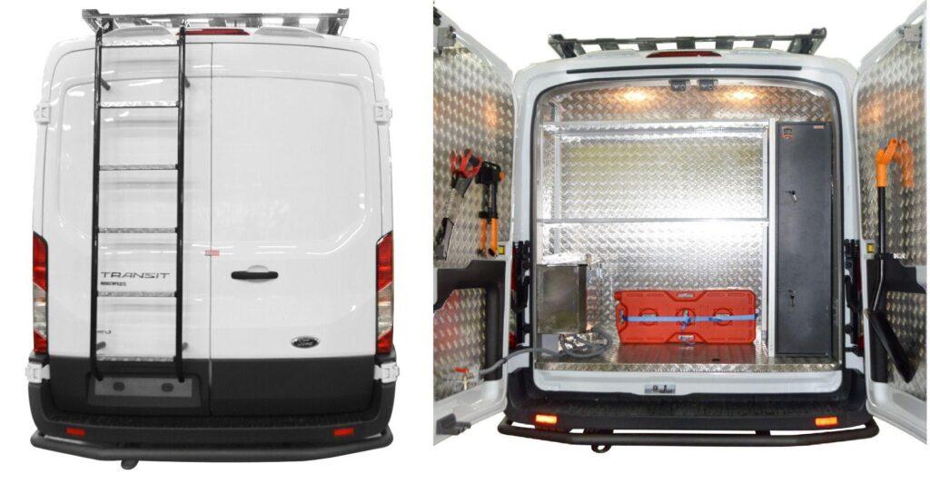 Среди внешних деталей, автомобиль снабжен специальным обвесом, пятью дополнительными прожекторами над лобовым стеклом, багажным отделением на крыше с лестницей