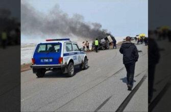 В Акмолинской области автомобиль взорвался после ДТП, погибли три человека