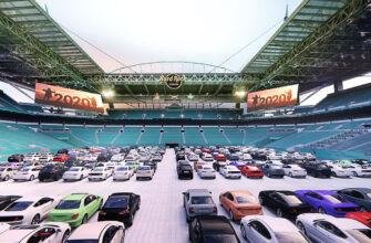 Настоящий автокинотеатр вместо стадиона в Майами