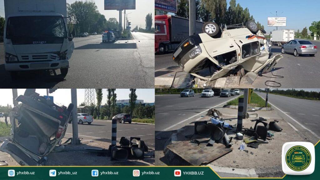 В Ташкенте Damas перевернулся после столкновения с Isuzu