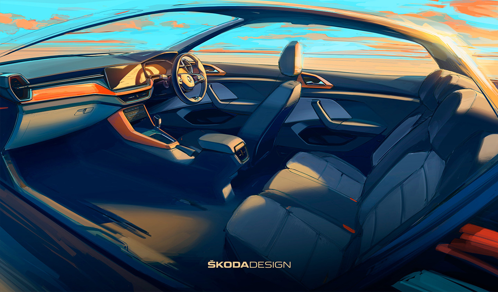 Skoda опубликовала изображения интерьера нового кроссовера Kushaq