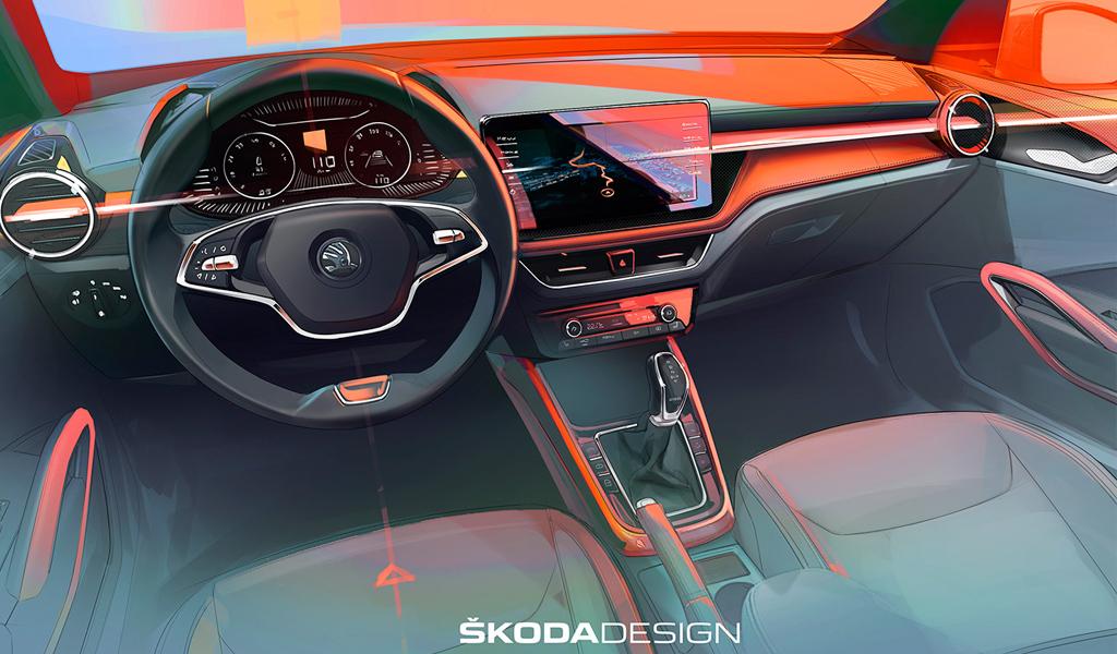 Skoda показала как будет выглядеть интерьер новой Fabia