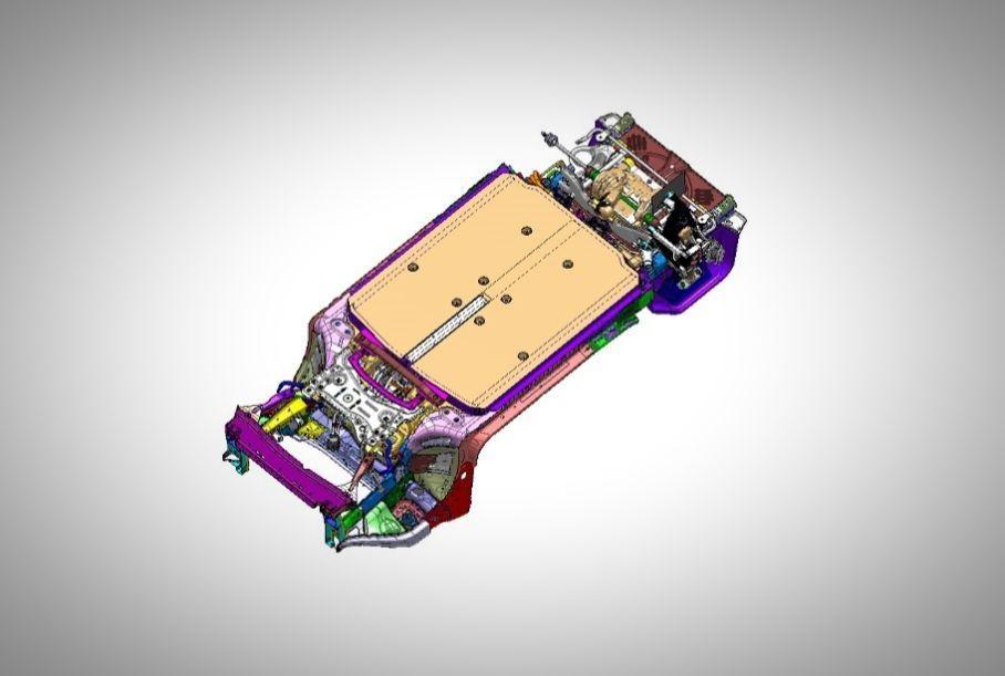 Новая конструкция называется eVMP (Electric Vehicle Modular Platform), создана исключительно под создание электромобилей, либо гибридов без связи ДВС с шасси