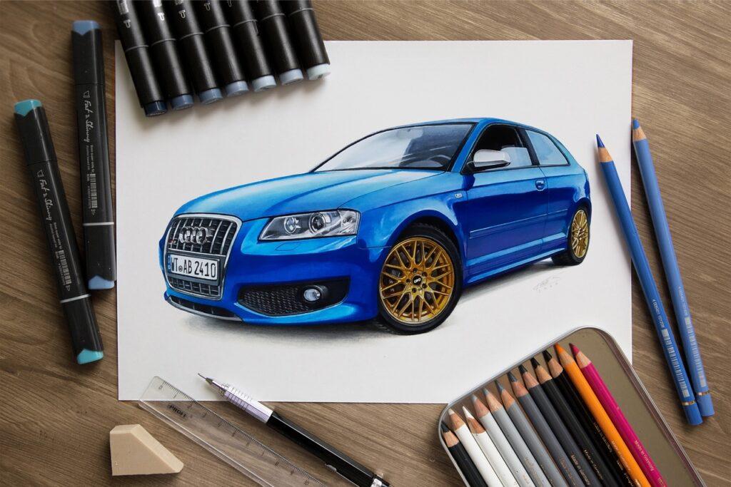 Максимально реалистичные рисунки автомобилей с помощью простого карандаша